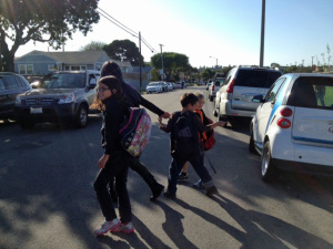 Kids crossing street at Anza Elementary